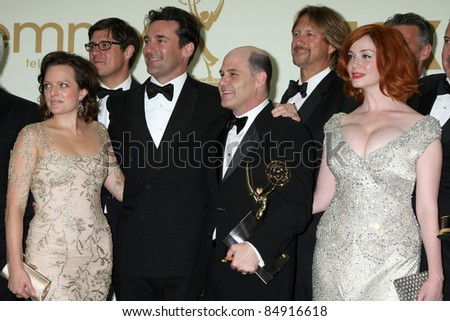 LOS ANGELES - SEP 18:  Elisabeth Moss, Jon Hamm, Matthew Weiner, Christina Hendricks in the Press Room at the 63rd Primetime Emmy Awards at Nokia Theater on September 18, 2011 in Los Angeles, CA - stock photo