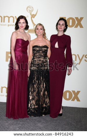 LOS ANGELES - SEP 18:  Elizabeth McGovern, Joanne Froggatt, Michelle Dockery in the Press Room at the 63rd Primetime Emmy Awards at Nokia Theater on September 18, 2011 in Los Angeles, CA - stock photo