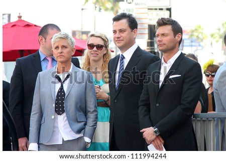 LOS ANGELES - SEP 4:  Ellen DeGeneres, Jimmy Kimmel, Ryan Seacrest at the Hollywood Walk of Fame Ceremony for Ellen Degeneres at W Hollywood on September 4, 2012 in Los Angeles, CA