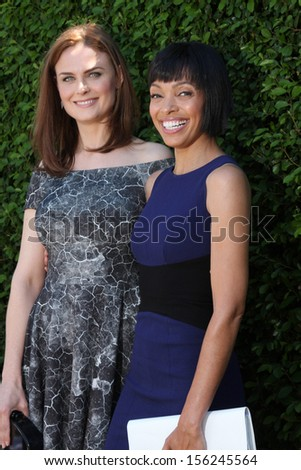LOS ANGELES - SEP 29:  Emily Deschanel, Tamara Taylor at the Rape Foundation Annual Brunch at Green Acres Estate on September 29, 2013 in Beverly Hills, CA - stock photo