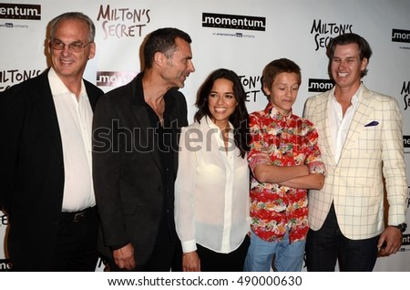 "LOS ANGELES - SEP 27:  Fred Fuchs, Barnet Bain, Michelle Rodriguez, Percy Hynes White, Sean Buckley at the ""Milton's Secret"" Premiere at the Chinese 6 Theaters on September 27, 2016 in Los Angeles, CA"