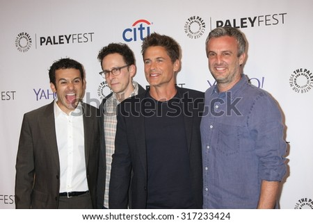 LOS ANGELES - SEP 15:  Fred Savage, Jarrad Paul, Rob Lowe, Andrew Mogel at the PaleyFest 2015 Fall TV Preview - FOX at the Paley Center For Media on September 15, 2015 in Beverly Hills, CA - stock photo