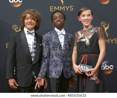 LOS ANGELES - SEP 18:  Gaten Matarazzo, Caleb McLaughlin, Millie Bobby Brown at the 2016 Primetime Emmy Awards - Arrivals at the Microsoft Theater on September 18, 2016 in Los Angeles, CA
