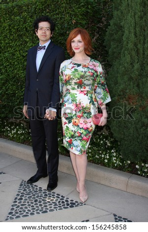 LOS ANGELES - SEP 29:  Geoffrey Arend, Christina Hendricks at the Rape Foundation Annual Brunch at Green Acres Estate on September 29, 2013 in Beverly Hills, CA - stock photo