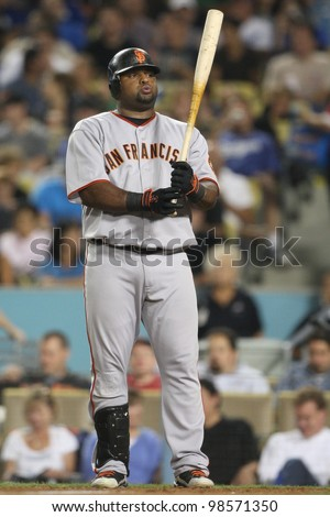 LOS ANGELES - SEP 3: Giants 3B Pablo Sandoval #48 during the Giants vs. Dodgers game on Sep 3 2010 at Dodgers Stadium in Los Angeles. - stock photo