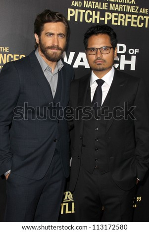 "LOS ANGELES - SEP 17:  Jake Gyllenhaal, Michael Pena arrives at the ""End Of Watch"" Premiere at Regal Cinemas L.A. Live on September 17, 2012 in Los Angeles, CA - stock photo"
