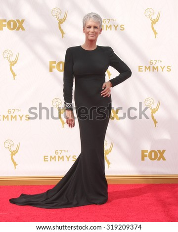 LOS ANGELES - SEP 20:  Jamie Lee Curtis at the Primetime Emmy Awards Arrivals at the Microsoft Theater on September 20, 2015 in Los Angeles, CA - stock photo
