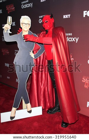 "LOS ANGELES - SEP 21:  Jamie Lee Curtis standee, Red Devil at the Premiere of FOX TV's ""Scream Queens"" at the Wilshire Ebell Theater on September 21, 2015 in Los Angeles, CA - stock photo"