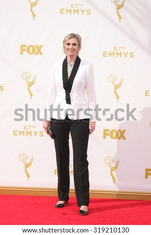 LOS ANGELES - SEP 20:  Jane Lynch at the Primetime Emmy Awards Arrivals at the Microsoft Theater on September 20, 2015 in Los Angeles, CA - stock photo