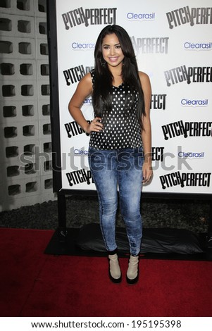 "LOS ANGELES - SEP 24:  Jasmine V arrives at the ""Pitch Perfect'"" Premiere at ArcLight Cinemas on September 24, 2012 in Los Angeles, CA"