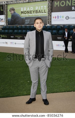 "LOS ANGELES - SEP 19:  Jonah Hill arrives at the ""Moneyball"" World Premiere at Paramount Theater of the Arts on September 19, 2011 in Oakland, CA - stock photo"