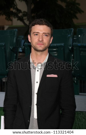 """LOS ANGELES - SEP 19:  Justin Timberlake arrives at the """"Trouble With The Curve"""" Los Angeles Premiere at Village Theater on September 19, 2012 in Westwood, CA - stock photo"""