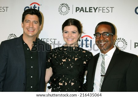 LOS ANGELES - SEP 10:  Ken Marino, Casey Wilson, Tim Meadows at the Paley Center For Media's PaleyFest 2014 Fall TV Previews - NBC at Paley Center For Media on September 10, 2014 in Beverly Hills, CA - stock photo