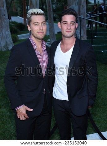 LOS ANGELES - SEP 13:  Lance Bass & Michael Turchin arrives to Brent Shapiro Foundation Summer Spectacular 2014  on September 13, 2014 in Los Angeles, CA                 - stock photo