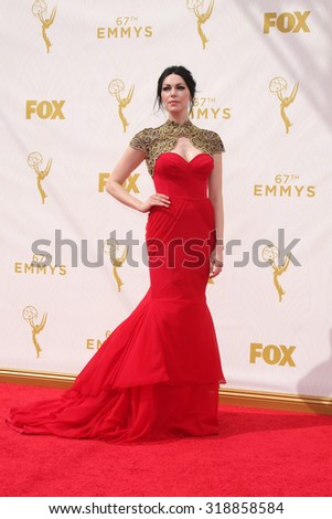 LOS ANGELES - SEP 20:  Laura Prepon at the Primetime Emmy Awards Arrivals at the Microsoft Theater on September 20, 2015 in Los Angeles, CA - stock photo