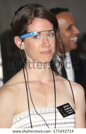 LOS ANGELES - SEP 22: Margo Rowder wears google glass in the press room during the 65th Annual Primetime Emmy Awards held at Nokia Theater L.A. Live on September 22, 2013 in Los Angeles, California - stock photo
