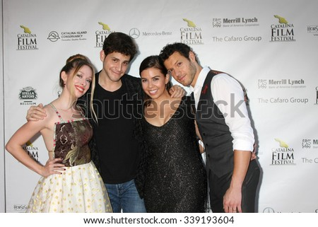 LOS ANGELES - SEP 25:  Megan Lee Joy, David Blue, Jessica Sherif, Dove Meir at the Catalina Film Festival Friday Evening Gala at the Avalon Theater on September 25, 2015 in Avalon, CA - stock photo