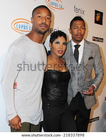 LOS ANGELES - SEP 18:  Michael B. Jordan, Toni Braxton, Nick Cannon at the Get Lucky for Lupus Poker Tournament at Avalon Hollywood on September 18, 2014 in Los Angeles, CA