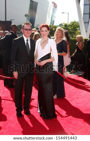 LOS ANGELES - SEP 15:  Michael Emerson, Carrie Preston at the Creative Emmys 2013 - Arrivals at Nokia Theater on September 15, 2013 in Los Angeles, CA