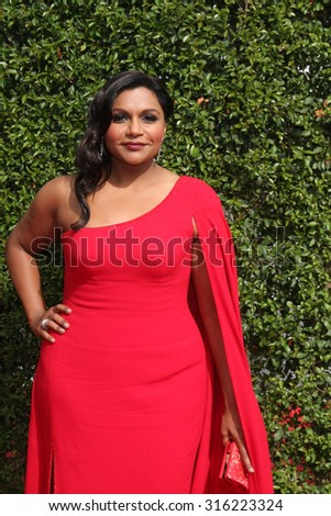 LOS ANGELES - SEP 12:  Mindy Kaling at the Primetime Creative Emmy Awards Arrivals at the Microsoft Theater on September 12, 2015 in Los Angeles, CA