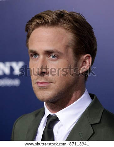 """LOS ANGELES - SEP 27:  Ryan Gosling arrives to the """"The Ides of March"""" Los Angeles Premiere  on September 27,2011 in Beverly Hills, CA - stock photo"""