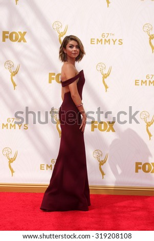 LOS ANGELES - SEP 20:  Sarah Hyland at the Primetime Emmy Awards Arrivals at the Microsoft Theater on September 20, 2015 in Los Angeles, CA - stock photo