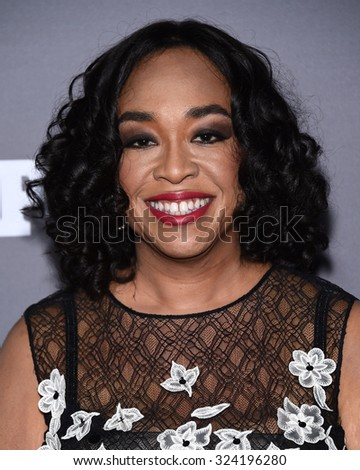 LOS ANGELES - SEP 26:  Shonda Rhimes arrives to the TGIT Premiere Red Carpet Event  on September 26, 2015 in Hollywood, CA.                 - stock photo