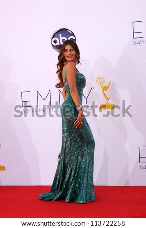LOS ANGELES - SEP 23:  Sofia Vergara arrives at the 2012 Emmy Awards at Nokia Theater on September 23, 2012 in Los Angeles, CA - stock photo