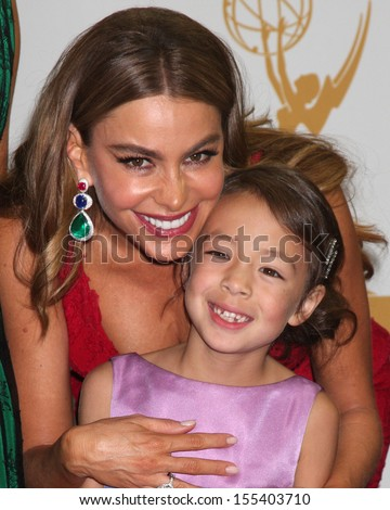 LOS ANGELES - SEP 22:  Sofia Vergara, Audrey Anderson-Emmons at the 65th Emmy Awards - Press Room at Nokia Theater on September 22, 2013 in Los Angeles, CA - stock photo