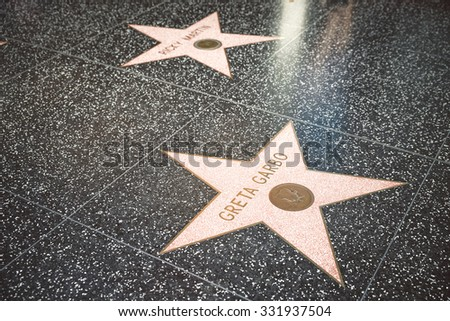 LOS ANGELES - SEP 15: Star of Hollywood Walk of Fame on September 12, 2015 in Los Angeles. There are more than 2,400 five-pointed stars which attract about 10 million visitors annually. - stock photo