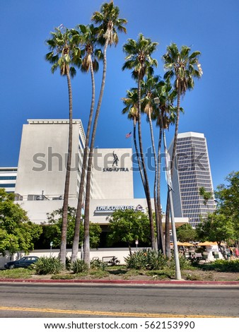 LOS ANGELES, SEP 10TH, 2016: The historic SAG-AFTRA plaza building on 5757 Wilshire Boulevard in the Miracle Mile district of Los Angeles, housing the Screen Actors Guild