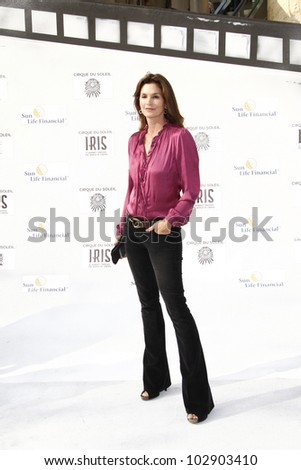 LOS ANGELES - SEPT 25: Cindy Crawford at the IRIS, A Journey Through the World of Cinema by Cirque du Soleil premiere at the Kodak Theater on September 25, 2011  in Los Angeles, California - stock photo
