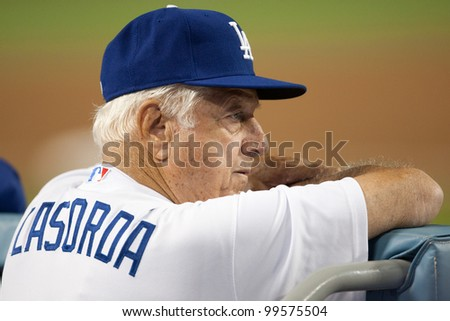 LOS ANGELES - SEPT 22: Former Los Angeles Dodgers manager Tommy Lasorda during the Major League Baseball game on Sept 22, 2011 at Dodger Stadium in Los Angeles, CA - stock photo