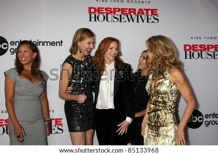 "LOS ANGELES - SEPT 21:  V Williams, Brenda Strong, Marcia Cross, Eva Longoria, Felicity Huffman arriving at the ""Desperate Housewives"" Party on Wisteria Lane on September 21, 2011 in Los Angeles, CA"