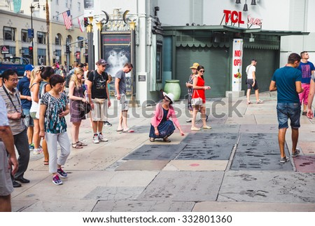 LOS ANGELES - SEPTEMBER 12: TCL Chinese Theatre on September 12, 2015 in Los Angeles. TCL Chinese Theatre is a cinema on the historic Hollywood Walk of Fame at 6925 Hollywood Boulevard in Hollywood. - stock photo