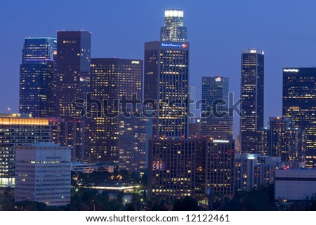Los Angeles skyline after sunset