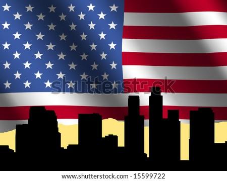 Los Angeles skyline against rippled American Flag illustration - stock photo