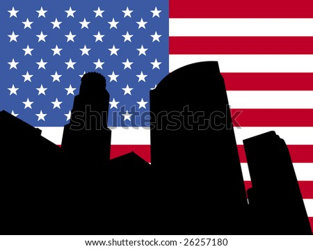 Los Angeles skyline and American flag illustration JPEG - stock photo
