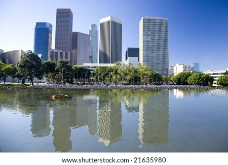 Los Angeles skyline and water reflection - stock photo