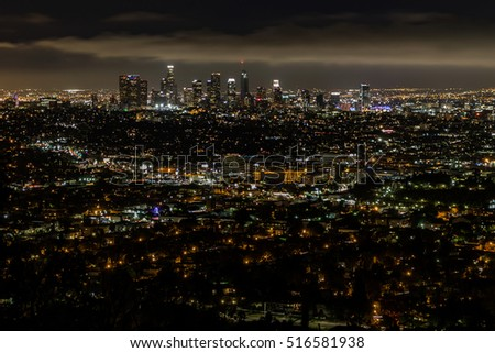 Los Angeles skyline at cloudy night