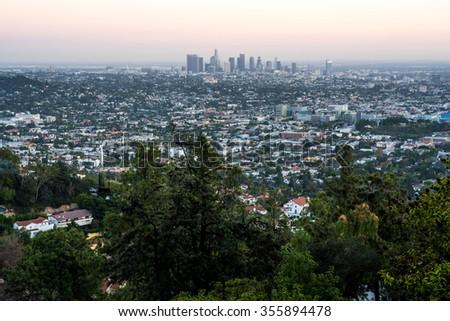 Los Angeles skyline at dusk.   - stock photo