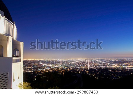 Los Angeles skyline at night from the Griffith Observatory - stock photo