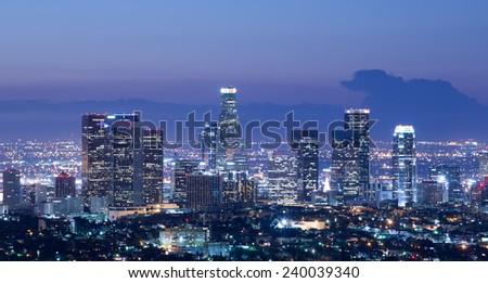Los Angeles skyline at sunrise - stock photo