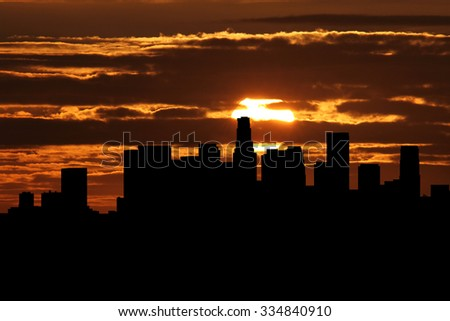 Los Angeles skyline at sunset illustration - stock photo