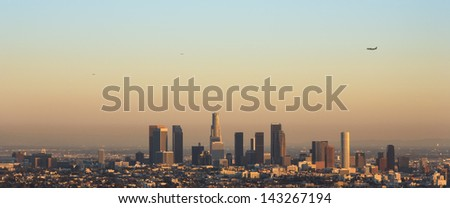 Los Angeles Skyline by Sunset - stock photo