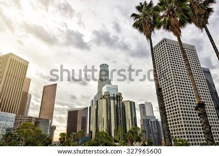 Los Angeles skyline during sunrise - stock photo
