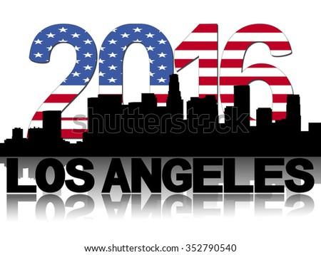 Los Angeles skyline 2016 flag text illustration - stock photo