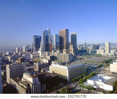 Los Angeles Skyline from City Hall, California - stock photo