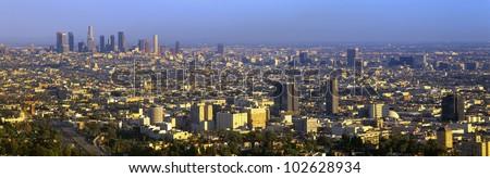 Los Angeles Skyline from Mulholland, California - stock photo
