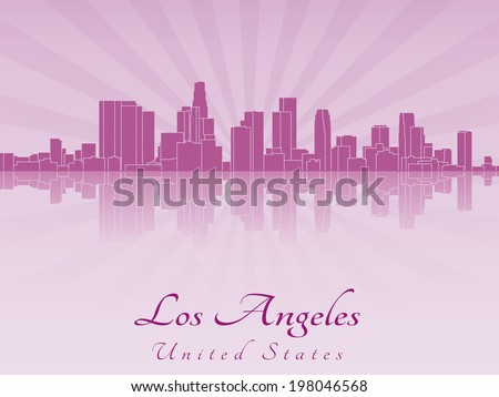 Los Angeles skyline in purple radiant orchid - stock photo